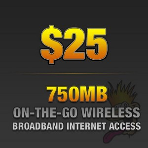 $25 750MB Of On-The-Go Wireless Broadband Internet Access